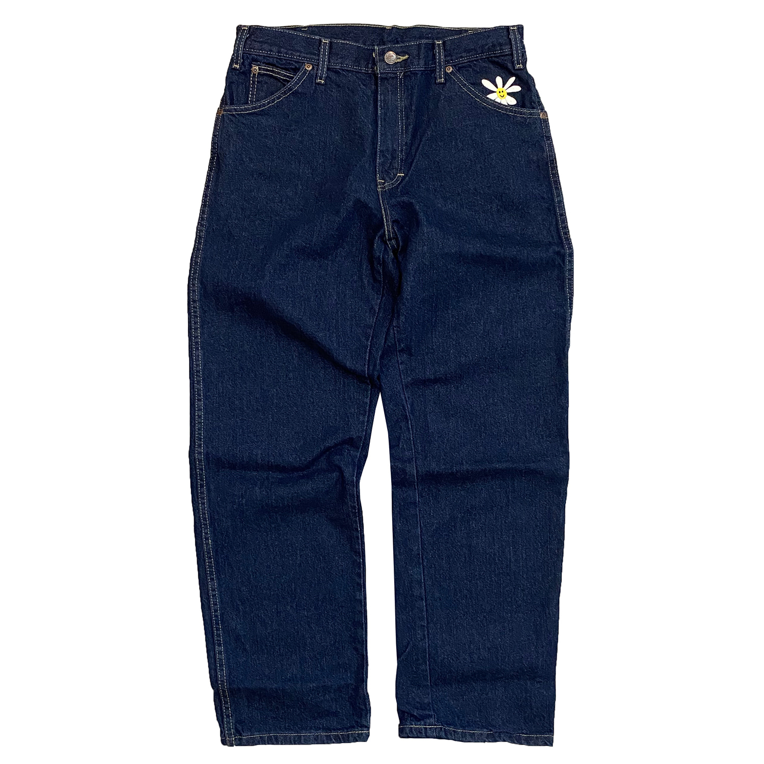 Daisy Dickies Relaxed Straight Jeans (Rinsed Indigo Blue)