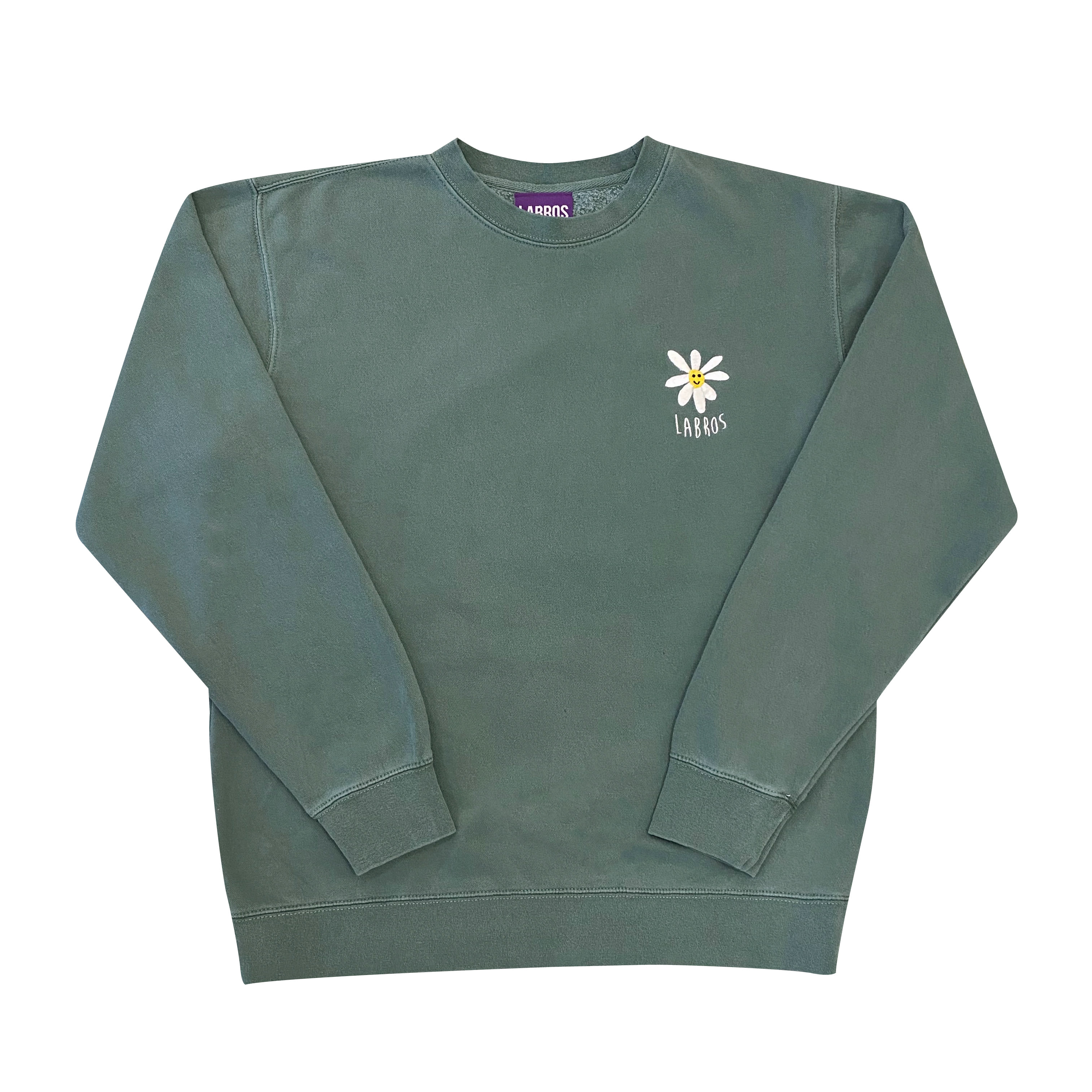 Pigment Dyed Daisy Crewneck (Green)
