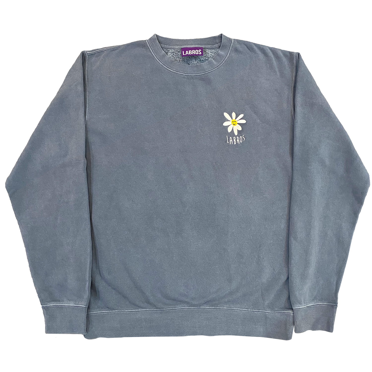 Pigment Dyed Daisy Crewneck (Stone Blue)