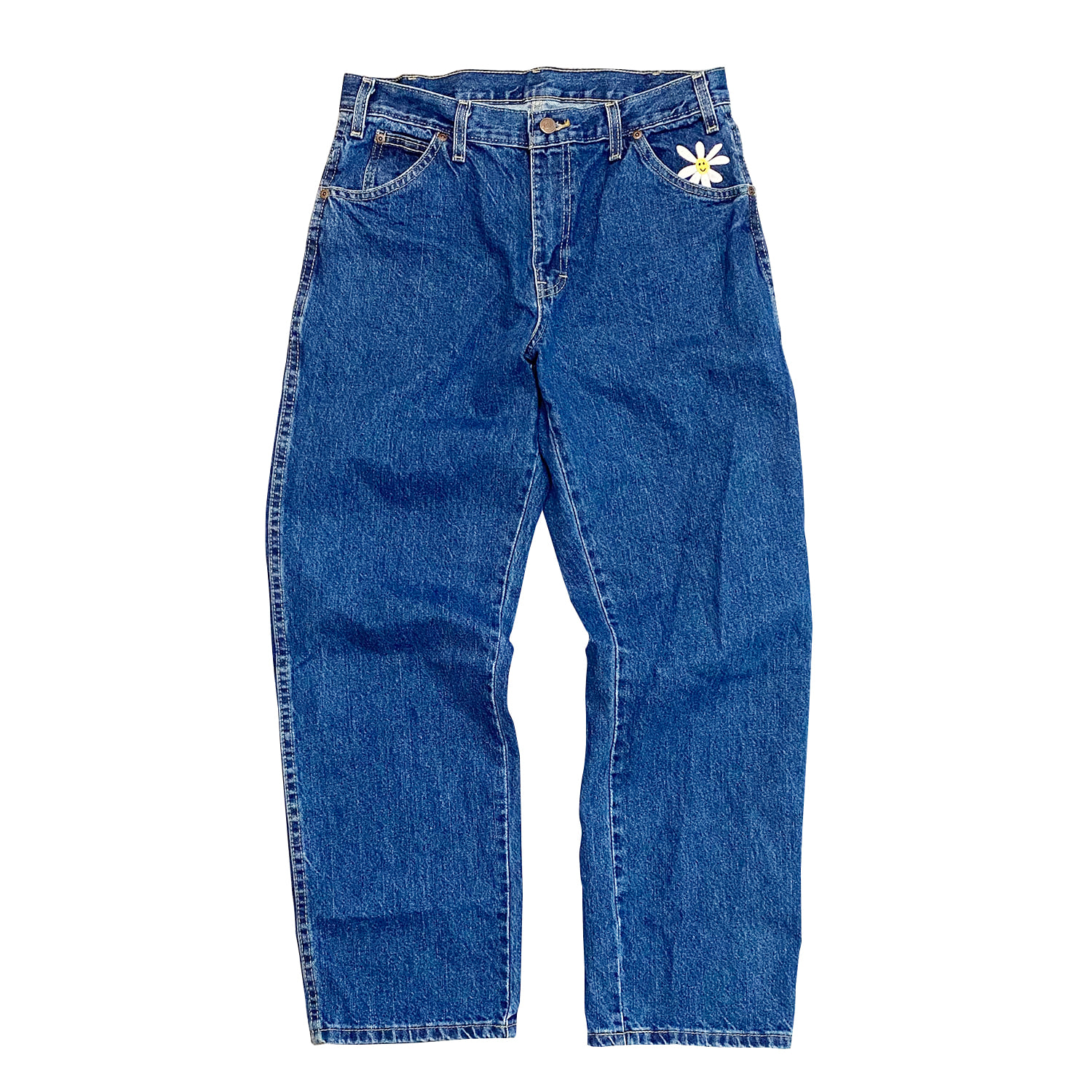 Daisy Dickies Relaxed Straight Jeans (Stonewashed Indigo Blue)