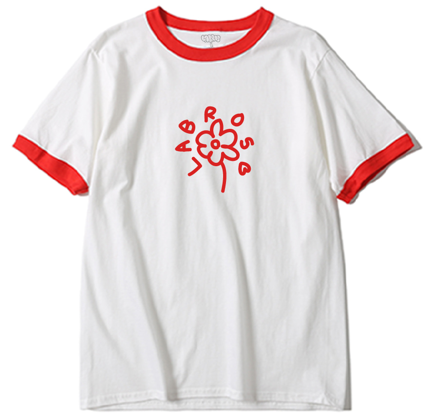 Flower Line Ringer Tee (W/Red)