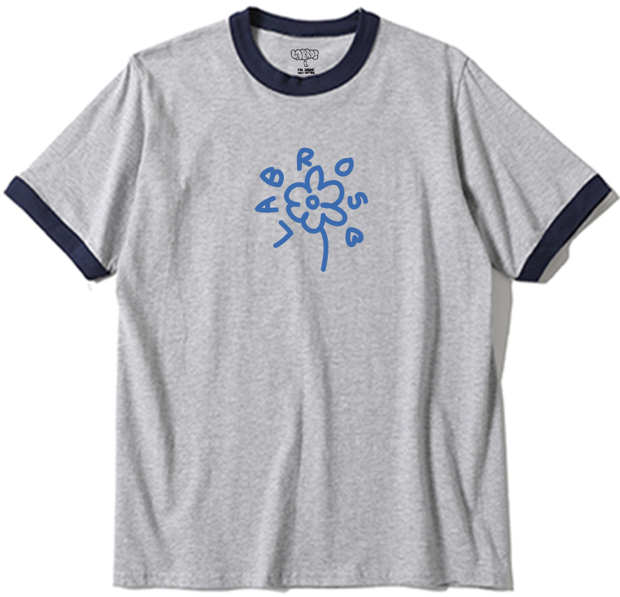 Flower Line Ringer Tee (Heather/Grey)